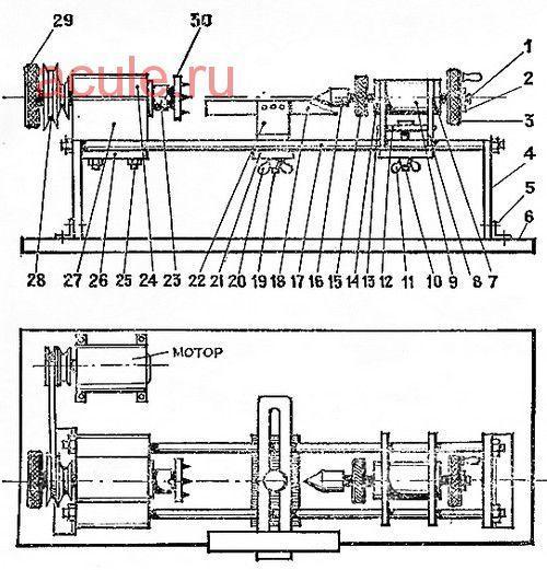 устройство универсального станка по дереву: 1 — пиноль; 2 — гайка; 3 — маховик 4 — стойка (2 шт.); 5 — угольник (2 шт.); 6 — основание; 7 — корпус пиноля; 8 — стойка задней бабки (2 шт.); 9 — втулка задней бабки; 10 — винт натяжной; 11 — гайка-барашек; 12 — распорная планка; 13 — винт М4х12 (4 шт.); 14 — гайка М14х1,25; 15 — контргайка; 16 — корпус вращающегося центра; 17 — направляющие (2 шт.); 18 — подручник; 19 — натяжной винт; 20 — гайка-барашек; 21 — планка; 22 — основание подручника; 23 — шпиндель; 24 — корпус шпинделя; 25 — шпилька передней бабки (2 шт.); 26 — планка для передней бабки; 27 — подушка; 28 — шкив; 29 — натяжной винт; 30 — планшайба