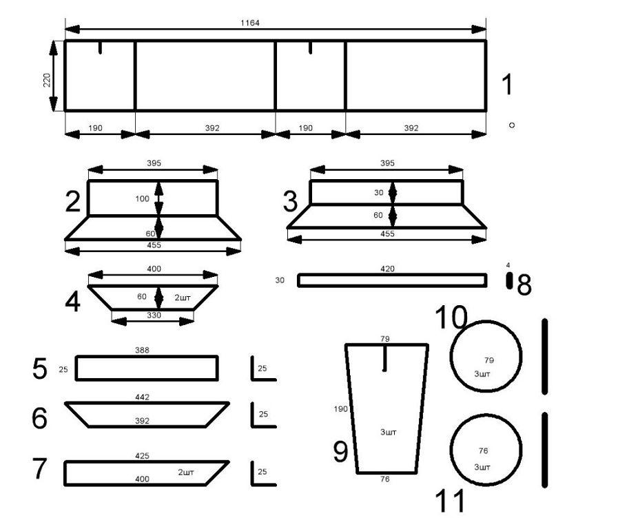 чертеж форм для шлакоблоков: 1 - матрица в развертке; 2, 3, 4 - поддоны; 5, 6, 7 - нижняя рамка матрицы делается из уголка 25х25; 8 - рейка для крепежа пустотников; 9 - пустотник; 10 - верхняя пробка пустотника; 11 - нижняя пробка пустотника