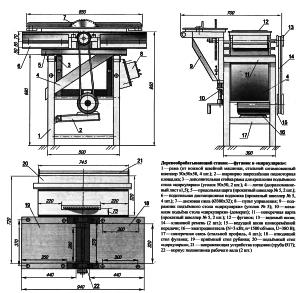 Схема универсального станка – фуганок и циркулярная пила