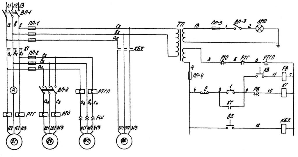 Описание работы принципиальных электрических схем станков