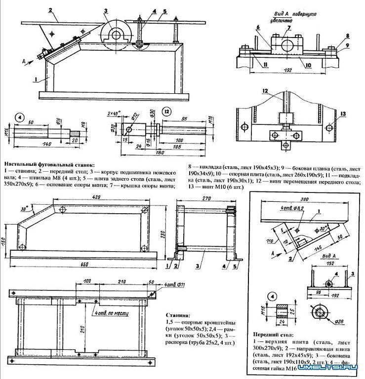 чертеж фуговального станка