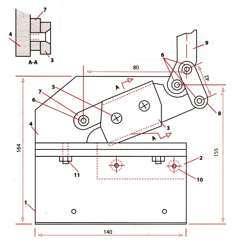 чертеж рычажных ножниц: 1 - нижняя щека, 2 - фиксированное лезвие, 3 - подвижное лезвие, 4 - верхняя основа, 5 - винт для фиксации лезвия (2 штуки), 6 - болты 4 штуки, 7 - ножевой рычаг, 8 - серьга, 9 - рычаг, 10 - винт, 11 - болт для стяжки (2 штуки)