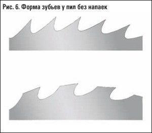 форма заточки зубцов монолитных дисков: вверху - прямая, внизу - изогнутая