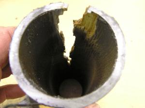 Пример дефекта, возникшего из-за ползучести
